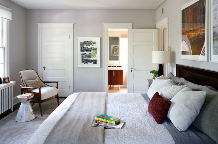 Contemporary Bedroom by Sightline Art Consulting - Classy bedding, cool gray walls, MCMish chair