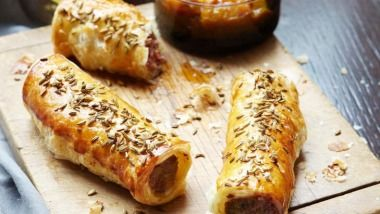 Luke Mangan's pork and fennel sausage rolls with green tomato chutney.