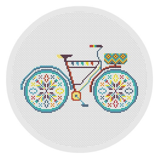 Colorful Bicycle Cross Stitch Pattern PDF Hoop art Modern cross stitch pattern…