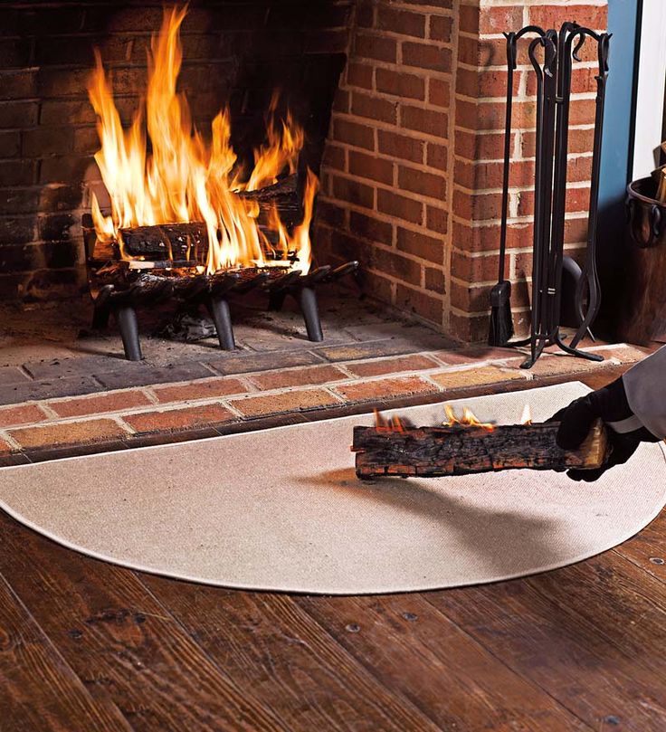 "Flame Resistant Fiberglass Half Round Hearth Rug, 32"" x 60"""
