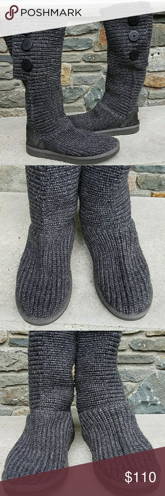 Ugg classic cardy button boots Grey yarns with silver threaded in the weave, 3 ugg buttons on each boot,ugg size us 8/ eu 39, shearling lined foot bed, textile shaft, very good condition UGG Shoes
