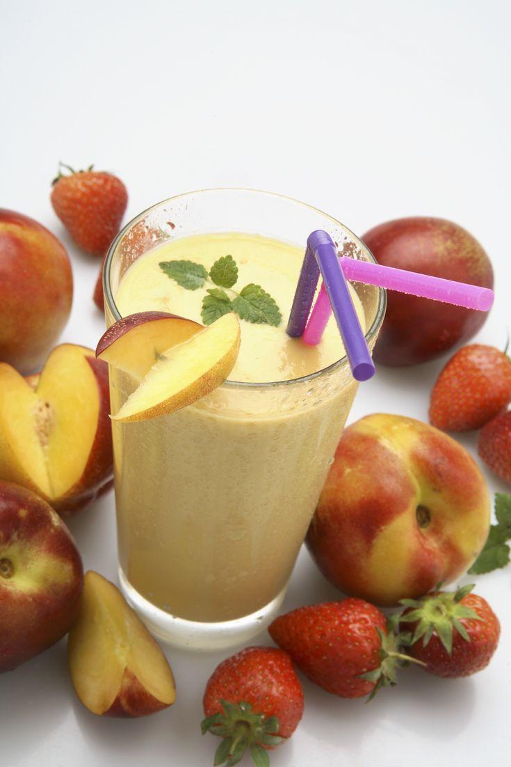 Make a creamy peach milkshake with just three ingredients!