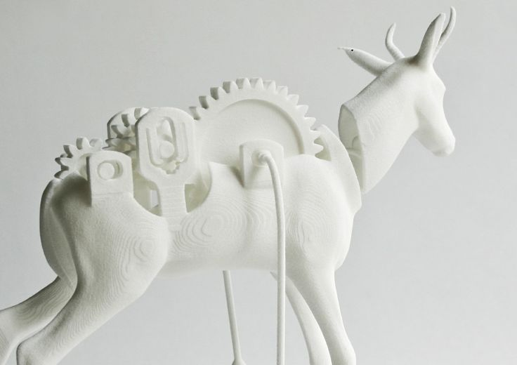 Designer  Michaella Janse van Vuuren  The Rocking Springbuck was digitally designed using 3D CAD software.The Rocking Springbuck has rotating gears and they move as the buck rocks. All the parts of the buck have been placed in the same 3D file so no assembly is required, and the sculpture emerges from the 3D printer with all the moveable parts in place. The design is printed in Polyamide