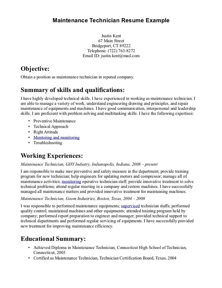 Best 25+ Resume objective statement ideas on Pinterest Good - general maintenance resume