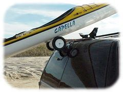 RollerLoader kayak roof rack rollers for loading kayaks and sailboards onto your car roof rack.