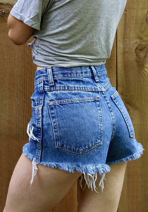 d637d82bccb6 Vintage High Waisted Jean Shorts   90s Legendary Gold Cut Off Jeans    Custom Ripped Denim Shorts   2