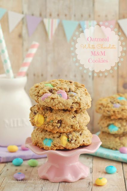 The Sweet Chick: Oatmeal White Chocolate M&M Cookies