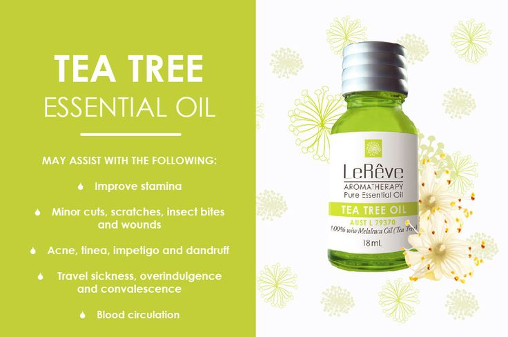 Tea Tree essential oil may assist with the following: improve stamina, minor cuts, scratches, insect bites and wounds, acne, tines, impetigo and dandruff, travel sickness, overindulgence and convalescence, blood circulation. All Le Reve essential oils are listed on the Australian Register of Therapeutic Goods (ARTG). Available at http://www.lereve.com.au/aroma/Mix-Your-Own and http://www.aromatherapy.net.au/mix-your-own/?cat=pure-essential-oils