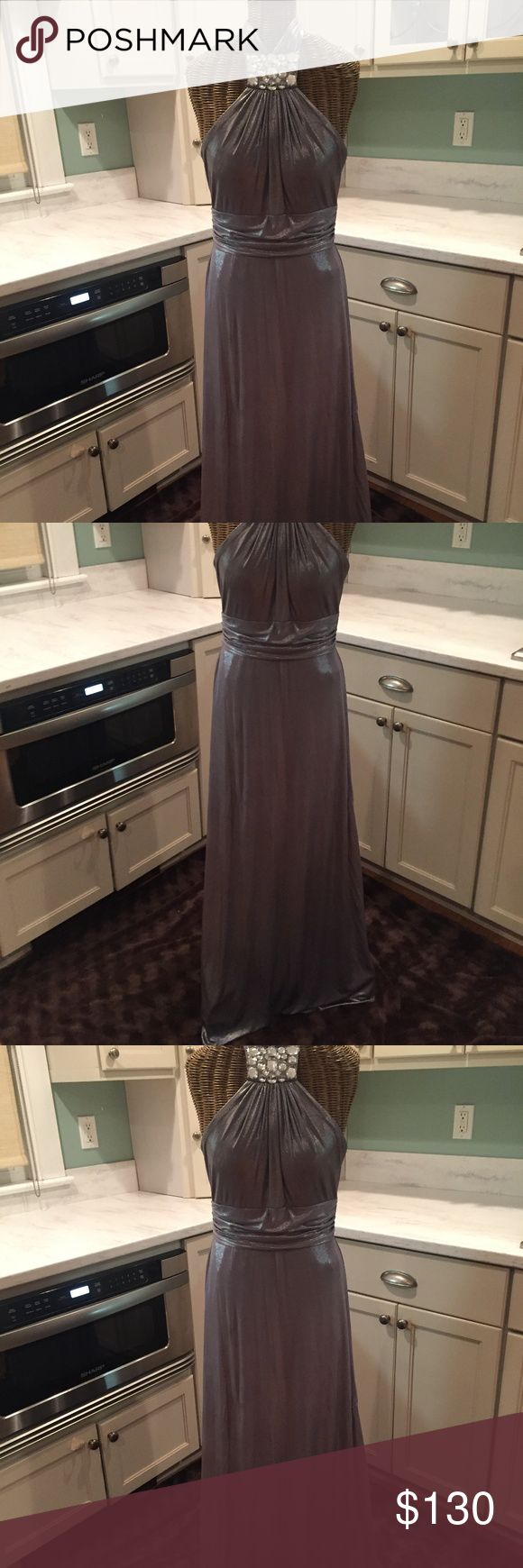 Silver Metallic Halter Special Occasion Dress White House Black Market Silver Metallic Halter Dress Size 6 Worn Once Full Length White House Black Market Dresses Backless