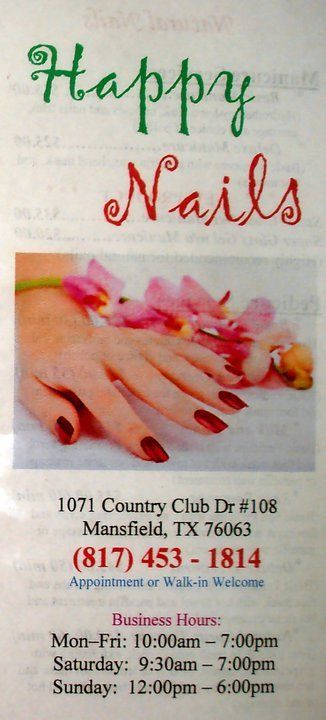 If you are looking for the best nail salon near Mansfield, TX then please stop into Happy Nails today!