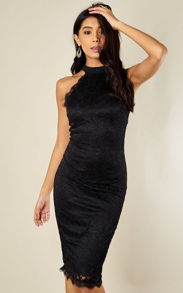 a71f7dfd0f BLACK LACE MIDI DRESS by AX Paris