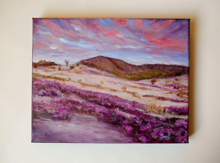 Original Painting 10 X 8 Canvas Pink Desert Landscape Painting Purple Flowers Painting Still Life Purple Blue Sky Painting Canadian Artist by SpiritualGiftGallery on Etsy