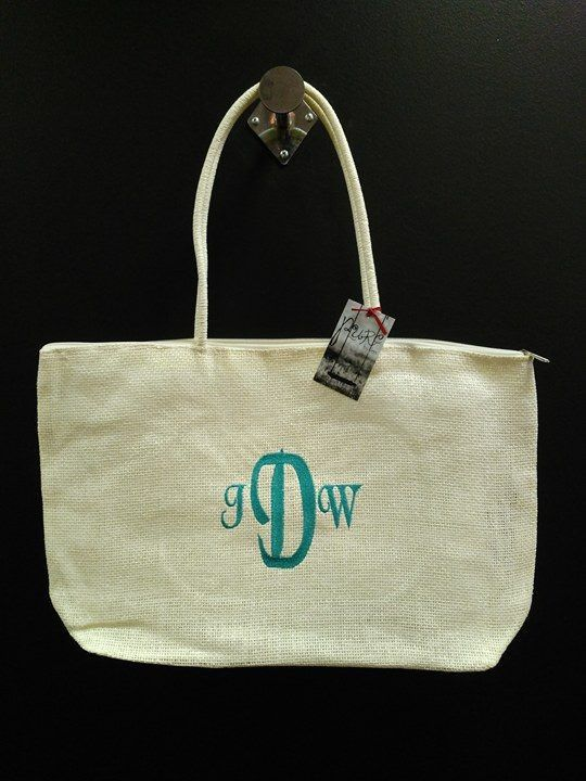 Monogram Woven Beach Bag