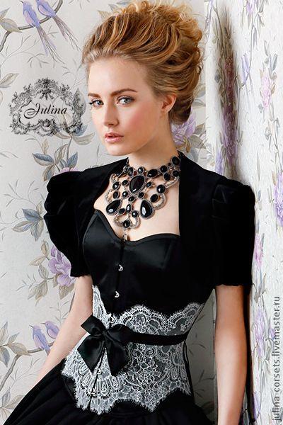 Корсет с кружевом Мари - чёрно-белый,корсет утягивающий,корсет на заказ Necklace - Guzel Bakeeva