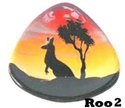 Outback Scenic Range with kangaroo images and outback scenes are sold for $11.45 each and made of pottery