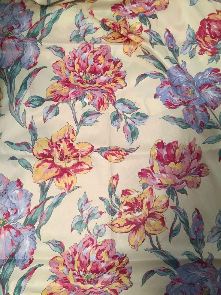 Vintage Satin Floral Fabric Window Swag Curtain 36 x 190
