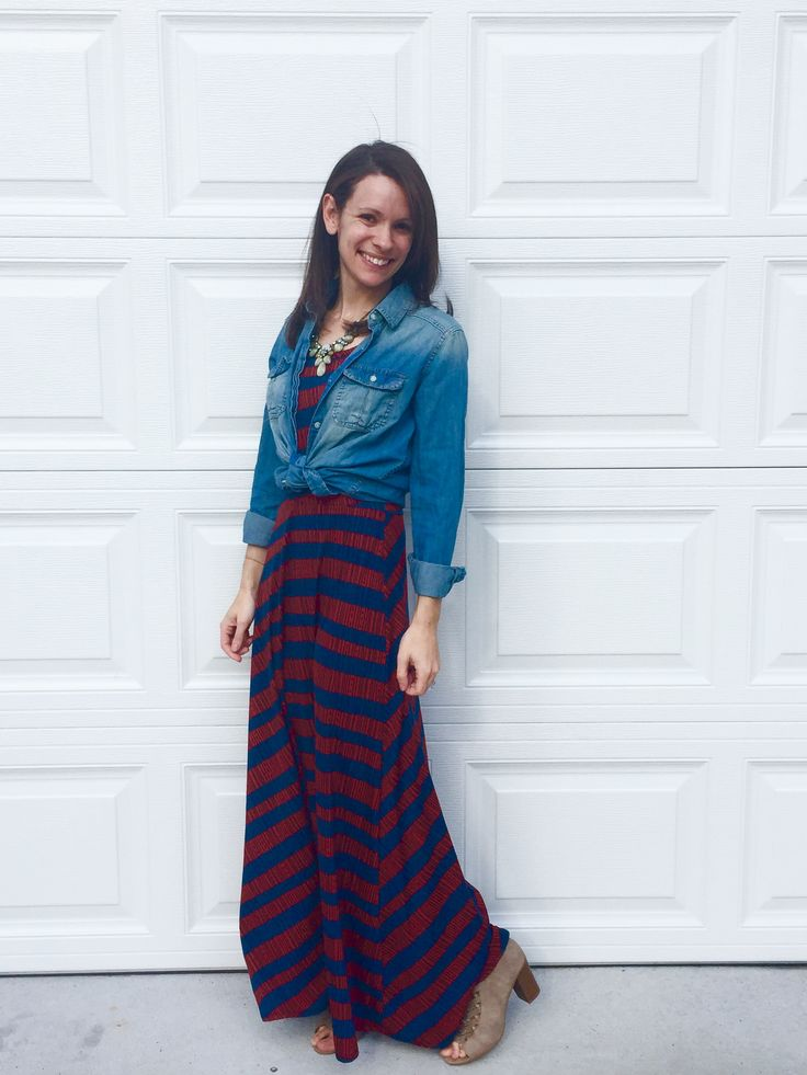 The LuLaRoe Ana dress can be for any occasion based on how you accessorize it. Here, with a chambray top, it has a more casual, everyday appearance!