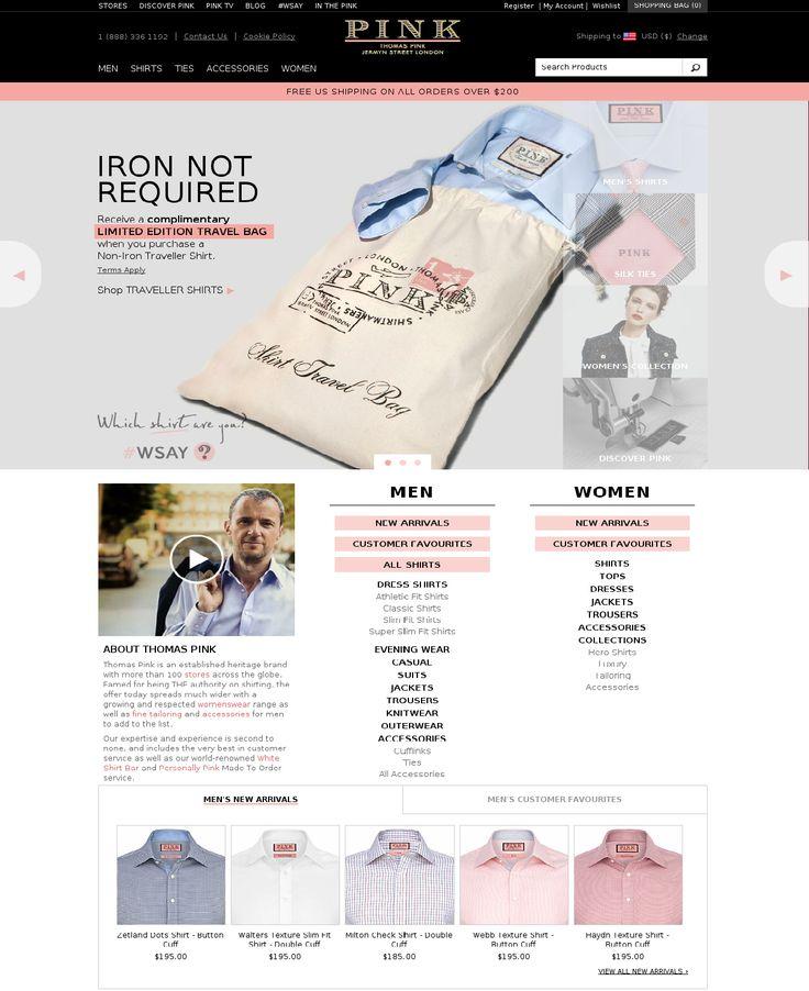 www.thomaspink.com Добавление формы поиска рубашки на главную страницу. Увеличение конверсии заказов на 12%