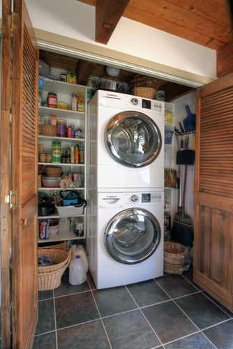 Storage Closet And Pantry With Washing Machine In It For