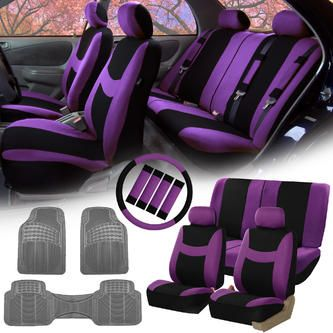 FH Group Purple Black Car Seat Covers for Auto w/Steering Cover/Belt Pads/Floor Mat