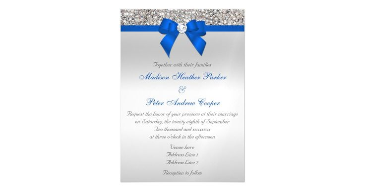 Elegant, personalized custom silver and cobalt blue magnetic wedding invitations with a beautiful glittery silver printed image graphic of sequins jewels, gems, glitter pattern, cute, sophisticated shiny printed cobalt blue bow and ribbon and pretty digital diamonds bling jewels on a silver gradient background. Please note: These are flat printed graphics - not real bows, diamonds or sequins.    Beautiful, stylish, chic, trendy, modern, glitz and glamour invitations. Text, font and color of…