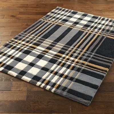 Tartan Black Grey Beige Image 1 Modern Rugs Uk