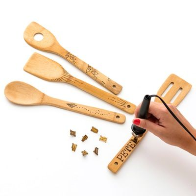 You can make a set of custom kitchen utensils with this wood burning 101 DIY kit.