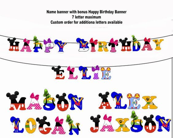 Mickey Mouse Banner Mickey Mouse Party by blueangeldigitals - use as an alphabet print in the playroom??
