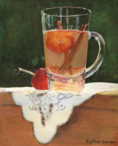 Crab Apple Tea - watercolor painting by Cynthia Klassen. Prints available via CynthiaKlassen.com