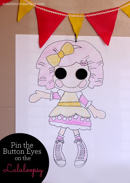 "Played just like ""Pin the Tail on the Donkey"" - cost 50 cents to make! #party #birthday #lalaloopsy www.sisterssuitcaseblog.com"