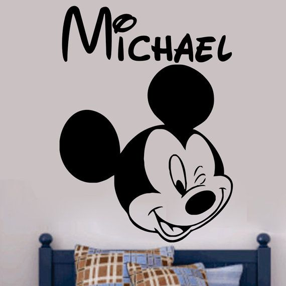 Mickey Mouse Wink Personalized Vinyl Wall Art Decal By Kisvinyl, $21.99  Vinyl Wall Art Sticker
