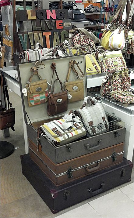 I love this display. Also for storage.. vintage suitcase.