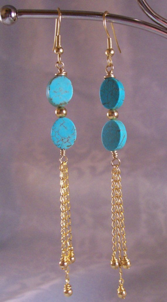 Turquoise Gold Chain Earrings