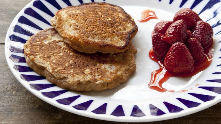 Salted caramel sauce is a classy addition to oat pancakes with roast strawberries. Recipe from Frank Camorra.