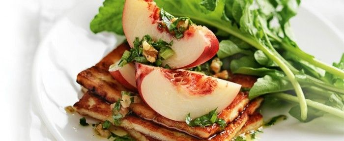Nectarines and haloumi with walnut pesto | In Season: Autumn | MiNDFOOD