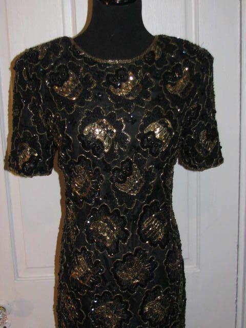 Vestido de cóctel con cuentas de STENAY / / 80 oro negro noche encaje Overlay tamaño 8 boda India madre de la novia Formal