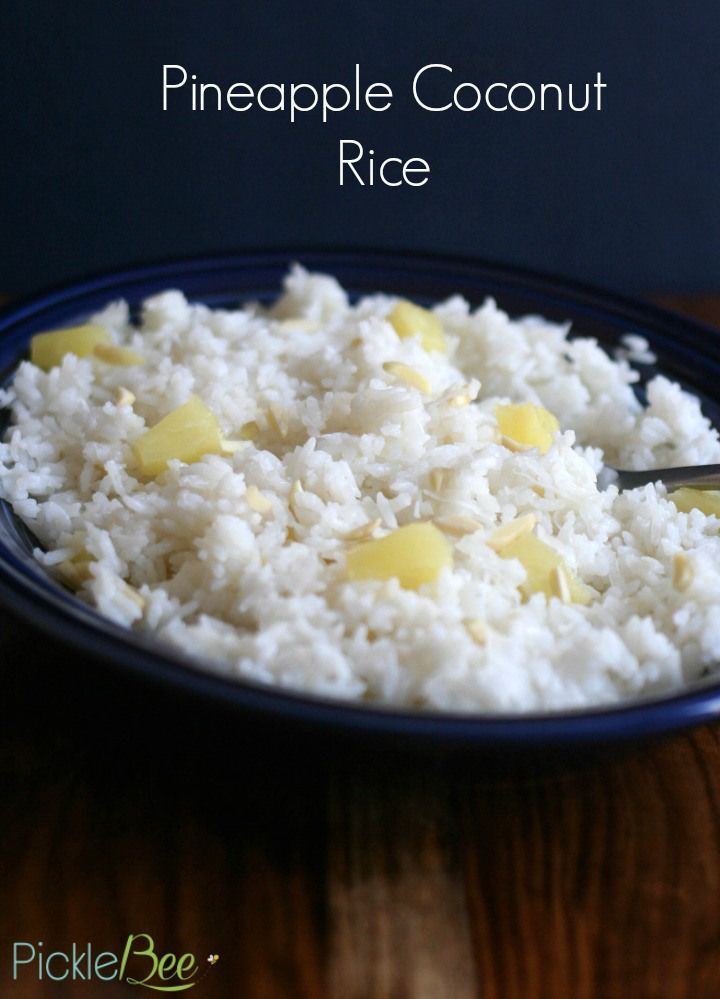 Pineapple Coconut Rice - this creamy, super simple recipe is the perfect way to jazz up ordinary white rice into something new! Perfect with grilled chicken, shrimp, or fish!