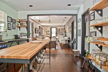 My Houzz: Nick + Stephanie, Austin eclectic-kitchen. Keeping part of end wall of kitchen