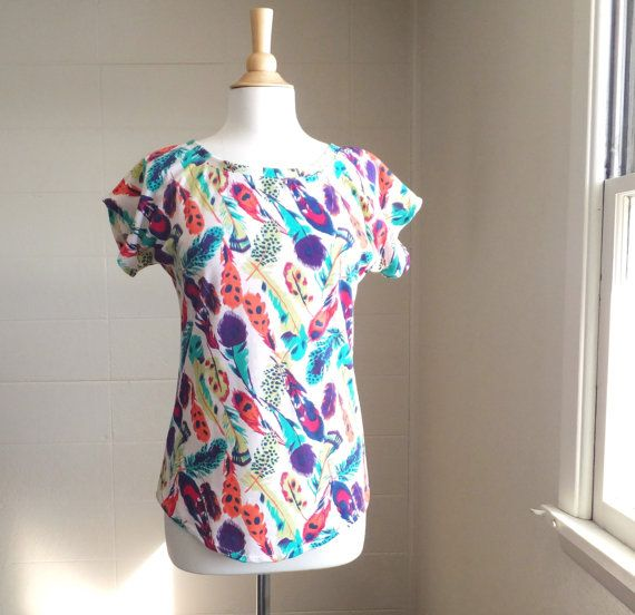 Bright Feather Print Tshirt Short Sleeve Dolman by ellainaboutique, $42.00
