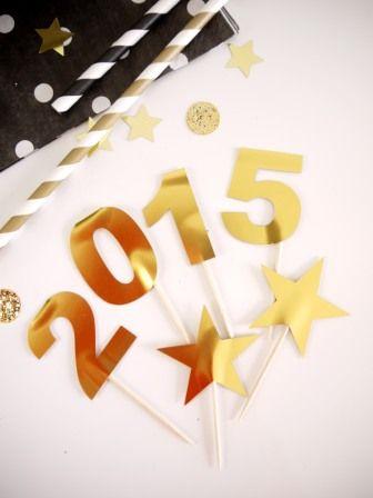 Toppers ou piques cupcakes th me nouvel an new year 39 s eve party ideas pinterest pique - Theme nouvel an ...