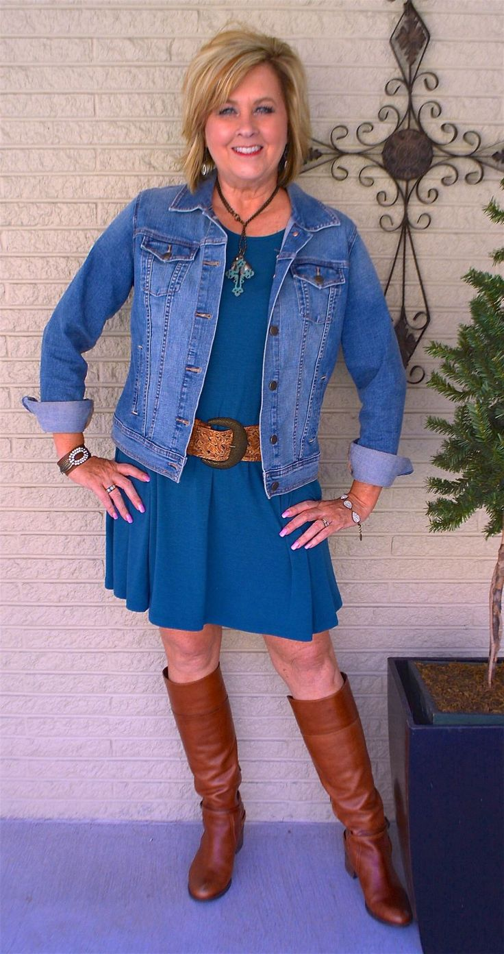 50 IS NOT OLD | HOW TO STYLE A DRESS SERIES, PART 5 | Denim Jacket | Swing Dress | Boots + Dress | Western look | Fashion over 40 for the everyday woman