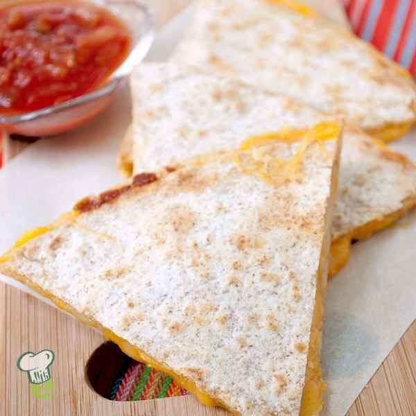Cheese Quesadillas : Looking for a healthy after school snack? This cheese quesadilla snacks recipe can be made in under 15 minutes. It's a healthy snack recipe that's low in fat but high in flavor. This easy cheese quesadillas recipe can be a light lunch or dinner too.