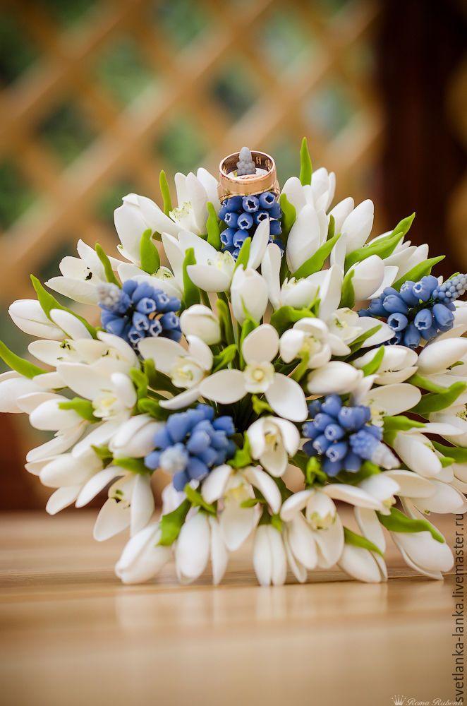 Polymer Clay Wedding Bouquet |  Свадебный букет и бутоньерка с подснежниками и мускари – купить в интернет-магазине на Ярмарке Мастеров с доставкой