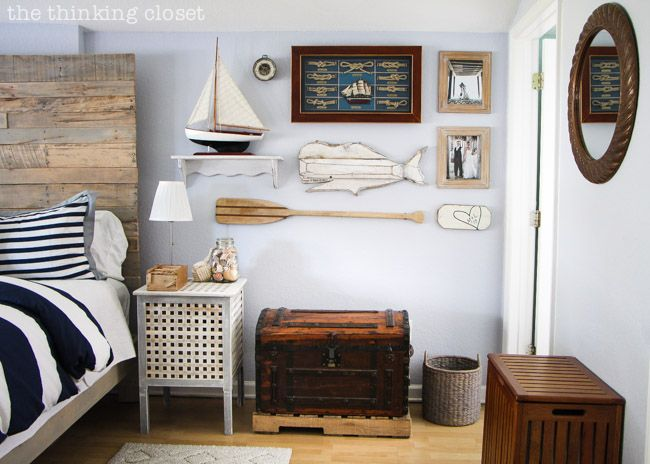 Nautical Master Bedroom Makeover: Nautical Galleries, Bedrooms Makeovers, Guest Bedrooms, Nautical Bedrooms, Rustic Nautical, Galleries Wall, Master Bedrooms, Nautical Theme, Bedrooms Ideas