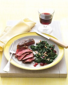 Pan-Seared Steak with Spinach, Grapes, and Almonds - Martha Stewart Recipes: Almonds, Recipe, 15 Minute, Grapes, Food, Steaks, Main Dishes, Spinach