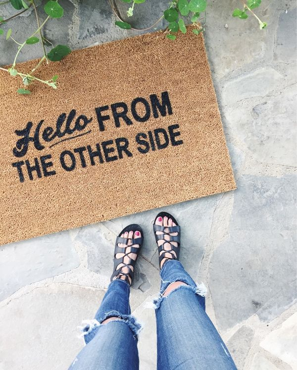 hello from other side door mat - so cute!