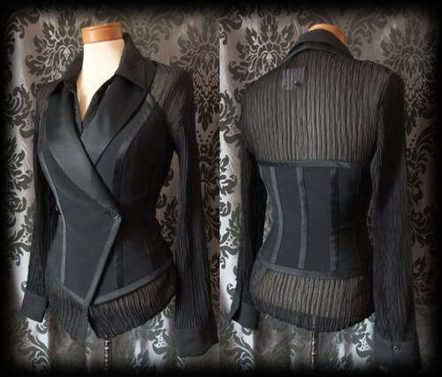 Gothic Black Tailored Halter Neck PARAMOUR Corset Waistcoat 8 10 Steampunk - £29.00