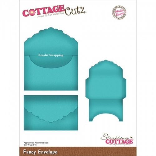 COTTAGECUTZ - CX012 - FANCY ENVELOPEDe er enkle å bruke og du får flotte detaljer til dine prosjekter.  Approximate Assembled Size:2-1/2x3-1/2COTTAGE CUTZ: With design styles that are cute and adorable; fun and whimsical; and classically elegant these universal wafer-thin dies make a great addition to your paper crafting supplies. Cut amazing shapes out of paper; cardstock; adhesive-backed paper; vinyl; vellum and more. They are made from American steel ...
