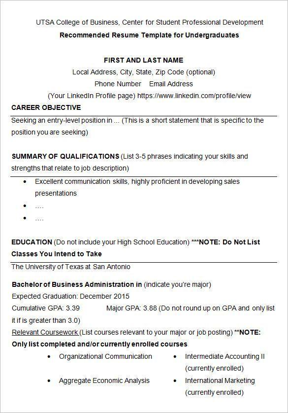 enrolled school resume