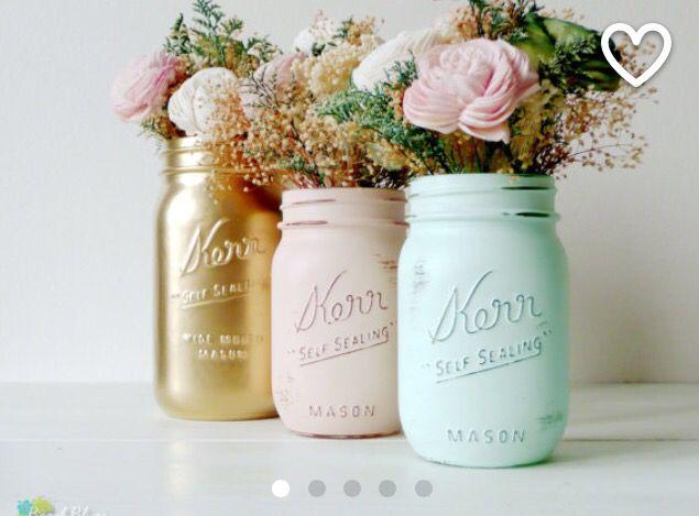 Mint, peach & gold mason jars